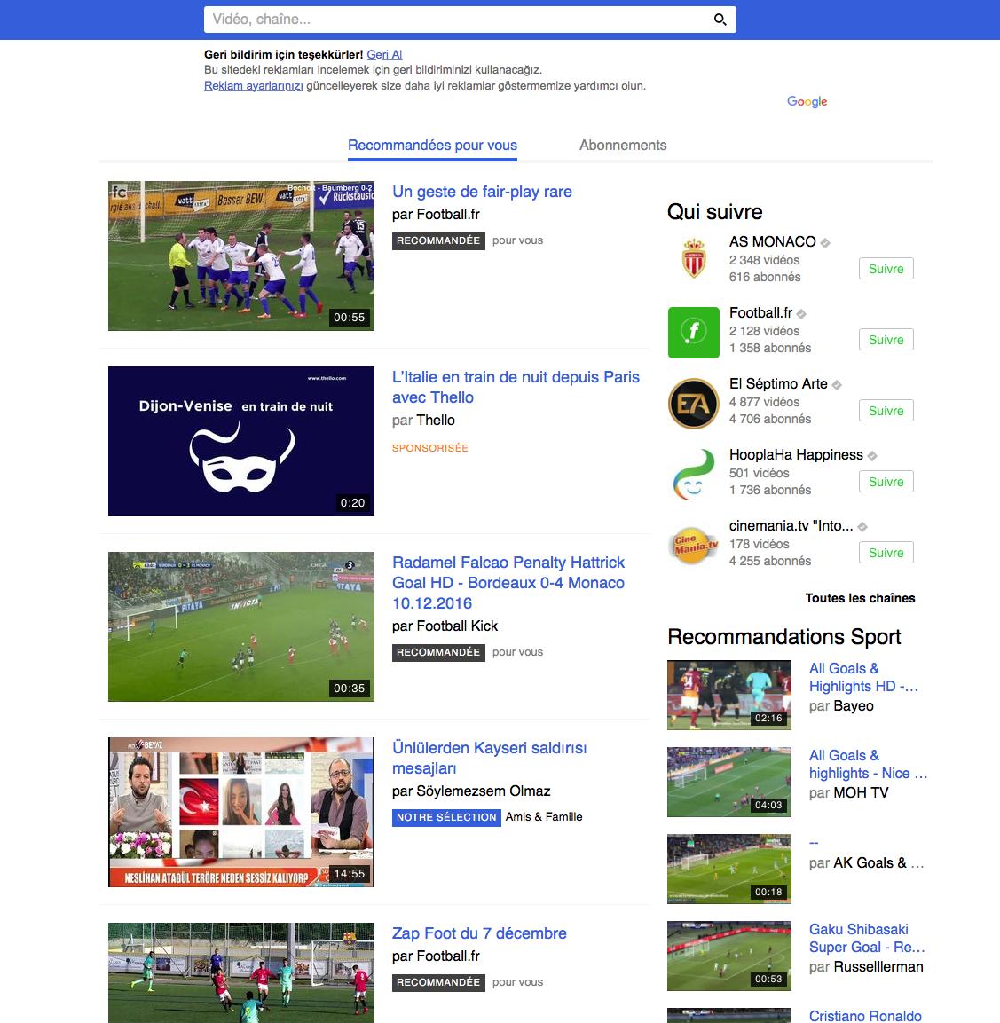 将Dailymotion网站界面翻译成土耳其语